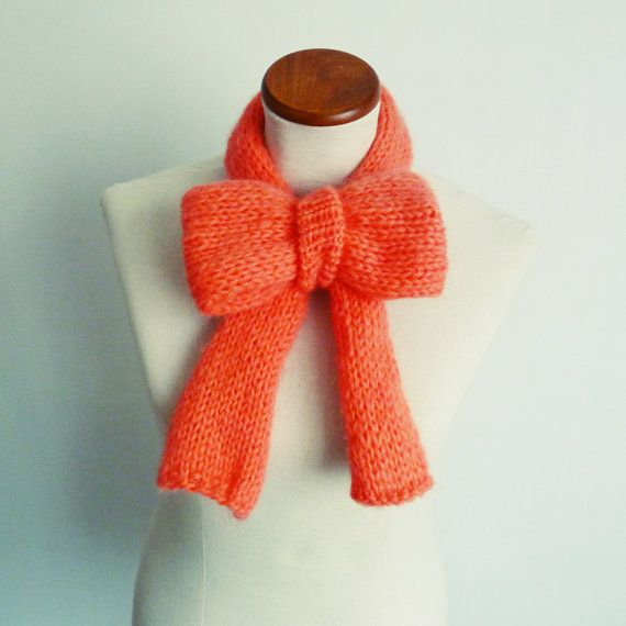 Costume Halloween Pattern Adult Knit Scarf  Bow  PDF