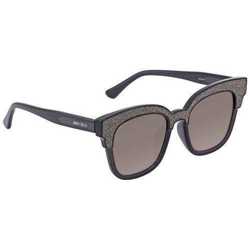 Jimmy Choo Kunststoff Cat Eye Sonnenbrille 50 018R Dunkelgrau Glitzernde VE Glä…
