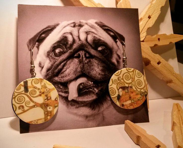 Klimt polymer clay earrings. Laser printer image transfer.
