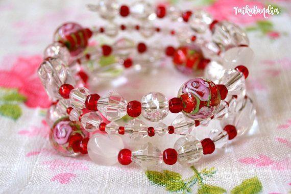 Glass Bead Wrap Bracelet Beaded Memory wire Bracelet Beaded #wrapbracelet #memorywirebracelet #beadedbracelet #beadedjewelry #bracelet #handmadejewelry