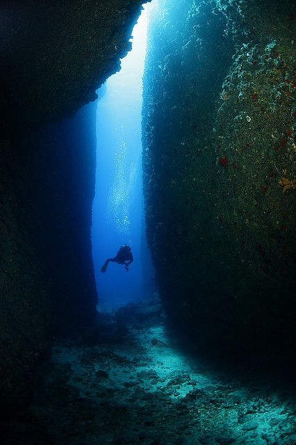 Exploring the underwater canyon in Kaş, Antalya, Turkey I would have to have a buddy to dive that. a couple of buddies would be nice, and holding hands. lol.