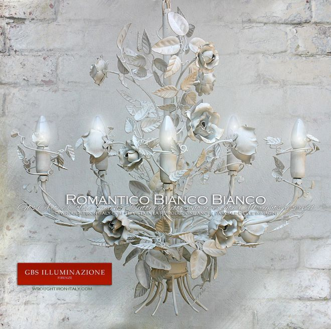 Total White, White Chandelier with White Roses. The authentic shabby chic GBS Tole Chandelier - GBS Tole Floral Chandeliers, hand-made in Florence since 1925