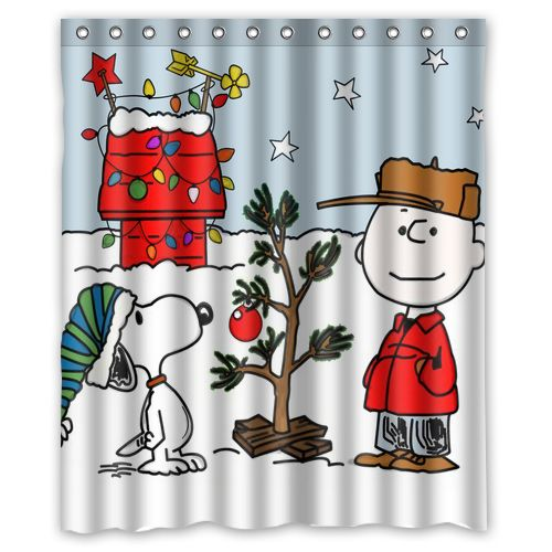 Christmas Trees Cartoom Dog Custom Design Curtain Fabric Bathroom Product Waterproof Shower Curtains 48x72 60x72