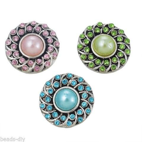 3 PCs BD Silver Tone Mixed Round Rhinestone Pearls Flower Snap Button Click 2cm