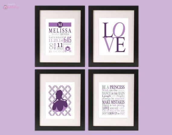 "Little Girl Princess Sofia the First Cinderella Nursery Birth Stats 4 ""11 x 14"" Wall Art  - Purple Modern"