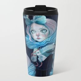 Little Clown with her Concertina Metal Travel Mug