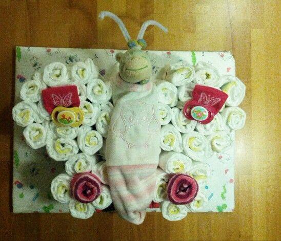 windelgeschenk schmetterling windeltorte windelgeschenke pinterest babies. Black Bedroom Furniture Sets. Home Design Ideas