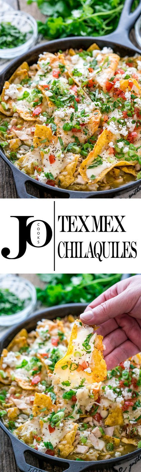 These Tex Mex Chilaquiles can be on your table in only 20 minutes and are perfect for breakfast or brunch! These chilaquiles are loaded with turkey and smothered with cheese and green enchilada sauce.