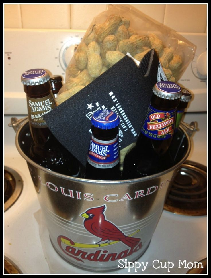 Men gift baskets... Use bottled coke for volunteer gifts
