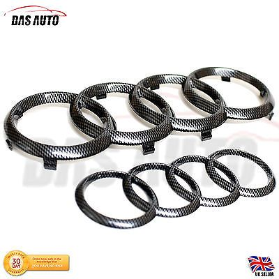 Carbon #fibre grill #badge #rings set audi a3 a4 a5 a6 s3 rs s5 quattro sline cgs, View more on the LINK: http://www.zeppy.io/product/gb/2/262767216463/