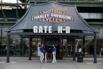 The Harley-Davidson Deck is perched above the Brewers bullpen in left field. Your group of 42 will enjoy access to the exclusive Harley Parking Lot (for motorcycles only) located adjacent to the players lot and in front of the private Harley-Davidson admission gate. Tickets are general admission allowing your guests to choose their seat.     Admission to the Harley Deck includes a pre-game buffet that begins when the Miller Park gates open and ends one hour after the first pitch.