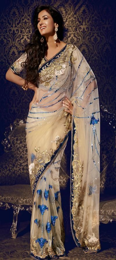 $378.93 Sonal Chauhan Cream Net Sequins and Resham Work Party Wear Saree 22884