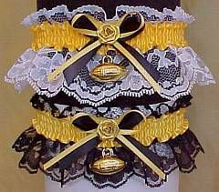 Football Fan Bands™ Garters in PITTSBURGH STEELERS  colors with a football charm attached. Football Wedding Bridal Garter for the Sports Wedding. Visit: www.garters.com/page51e.htm