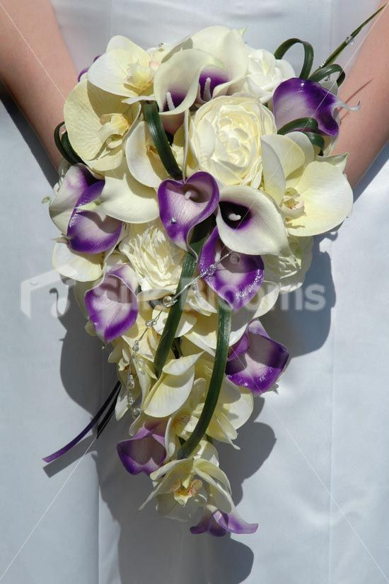 Gorgeous Ivory & Purple Cascading Bouquet w/ Lilies and Orchids