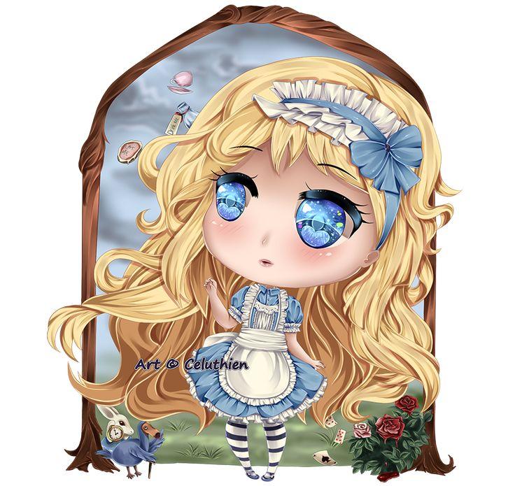 #alice #blondehair #bluedress #blueeyes #blueribbons #chibi #cute #dodo #glass #rabbit #red #roses #waistcoat #watch #white #wonderland #looking #kawaii