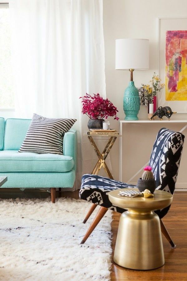 Gestaltungsmglichkeiten Fr Wohnzimmer Blaues Sofa