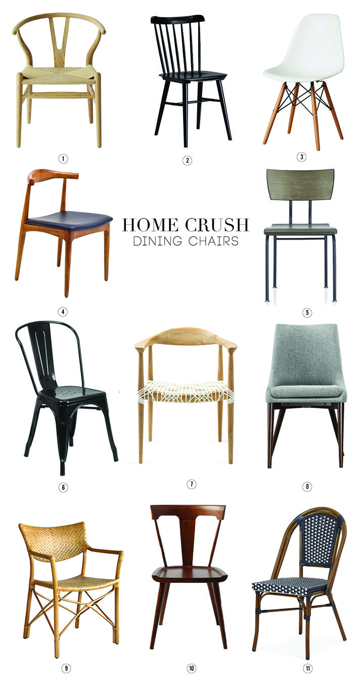 Here's a roundup of our favorite dining room chairs in this week's Home Crush – Dining Chairs. From mid-century to hip rattan, we've got you covered.