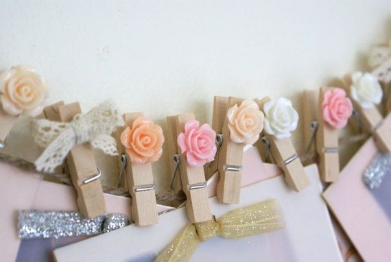 Wedding Wish Tag Clips - Photo Clothespin - Escort Card Rose Wooden Pegs - 10 per set