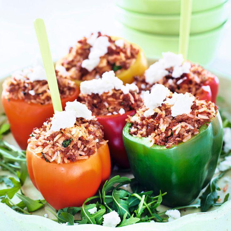 Fylld paprika med köttfärs, ris och fetaost