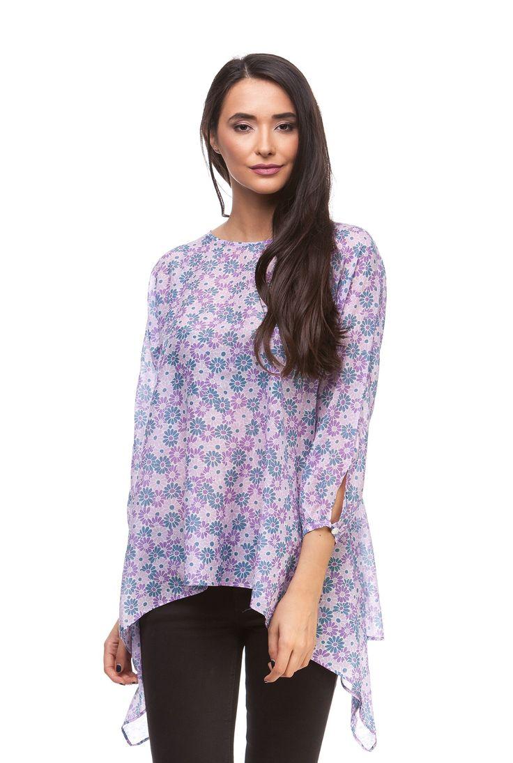 Bluza mov din matase cu imprimeu floral D401 de la Ama Fashion