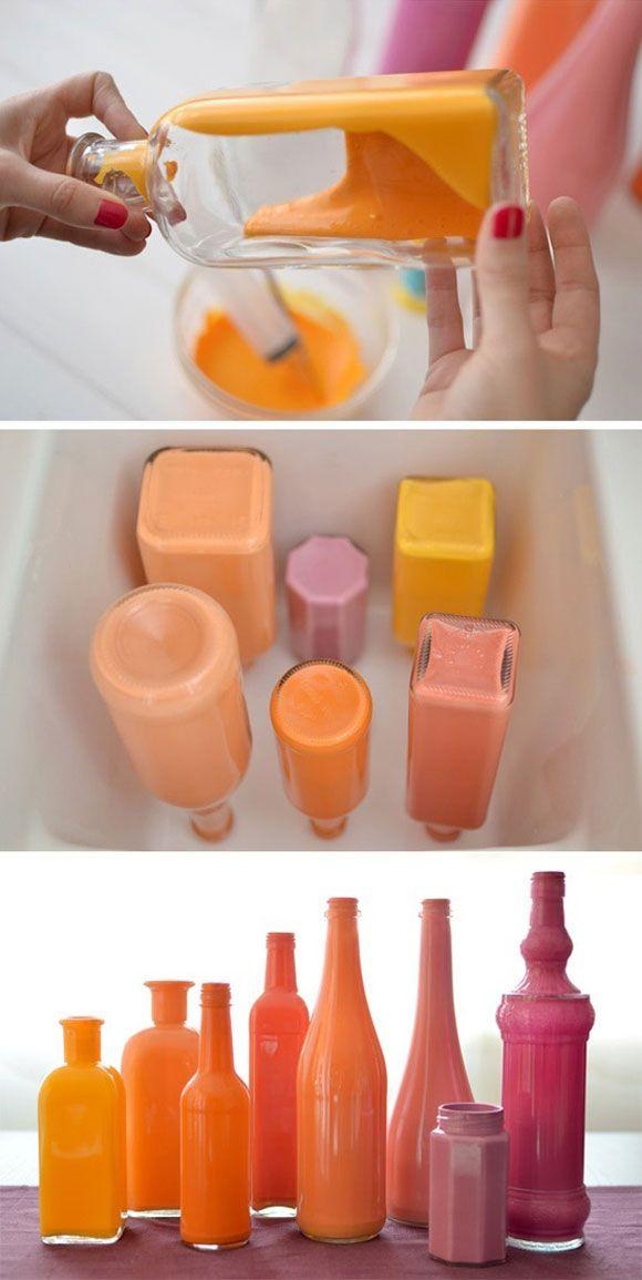Creatief met glazen flessen en potten - Mooie glazen flesjes in je favoriete kleur!