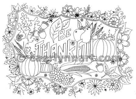 Thanksgiving Be Thankful Coloring Page Adult Coloring