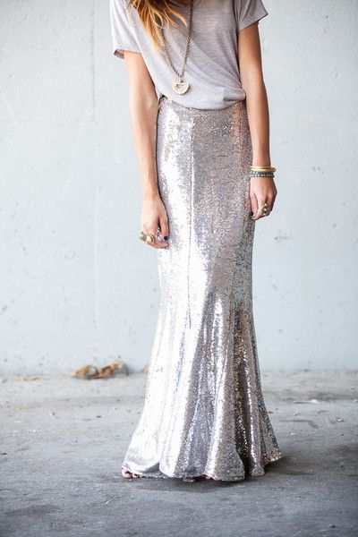 Sequin Maxi with a tee, too perfect. with wedges or boots add leather jacket, hit the road; skirt brought to you by the oxford trunk.com Walking on Sunshine:-)