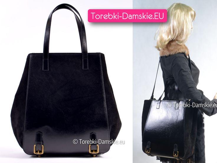 Duży nowy model #torebki damskiej produkcji włoskiej z naturalnej skóry licowej. Ozdobne klamry z przodu i z tyłu. #handbags