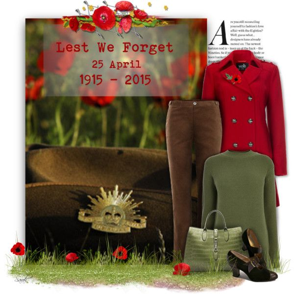 Anzac Day - Lest We Forget by of-simple-things on Polyvore featuring Warehouse, Wallis, Tulchan, Australian, LestweForget, anzac and anzacday