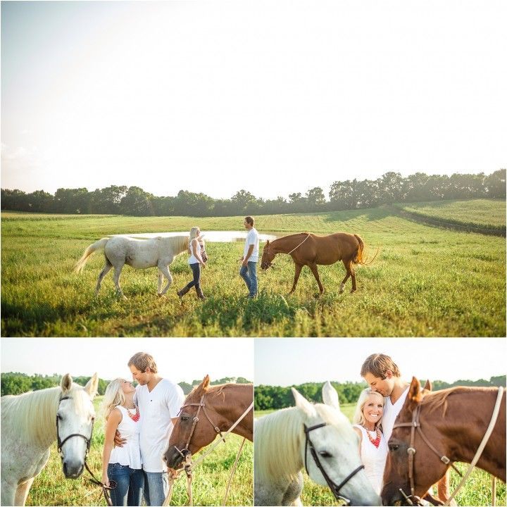 Farm engagement photos with horses. Click to view more photos!