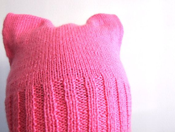 pink pussycat hat handknit ready to ship by KnitsDeLuxe on Etsy