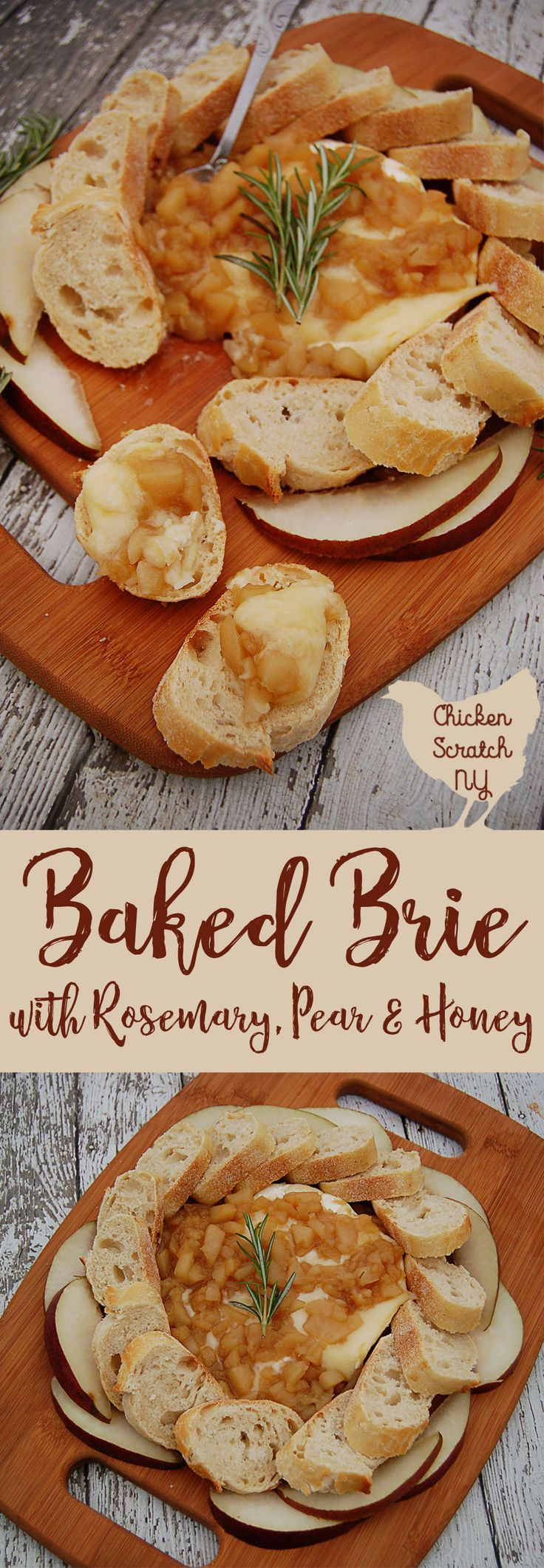 Top a round of warm baked brie with a chunky pear sauce made with fresh rosemary and honey. Serve with crusty bread or pear slices. via @AleciaCSNY