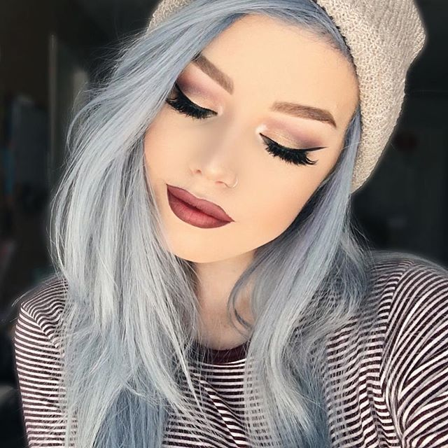 Blue grey color hair