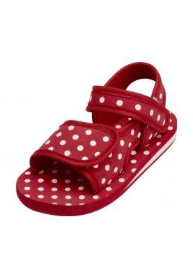 Sandaal klittenband - rood met witte stippen@anno1939