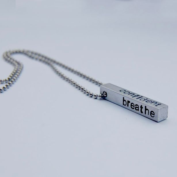 Hand-Stamped Aluminum Bar Necklace by Flirt & Flutter Jewelry