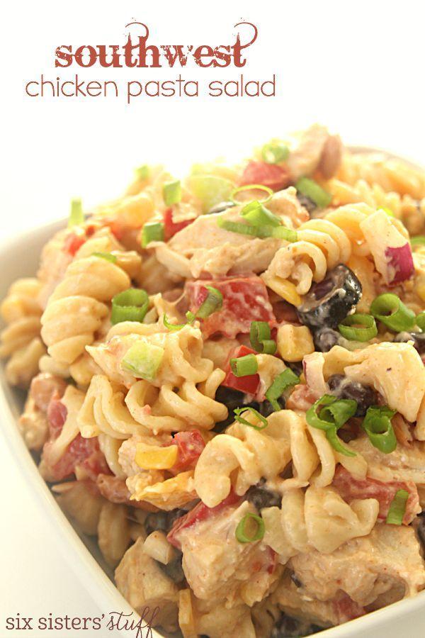 Southwest Chicken Pasta Salad on SixSistersStuff.com