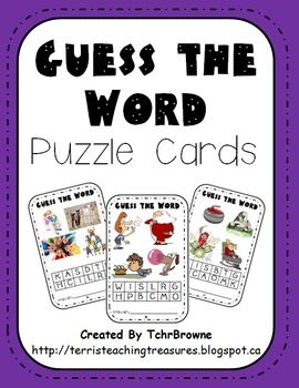 20 Guess the Word Puzzle Cards. Great for literacy centers or for early finishers. $