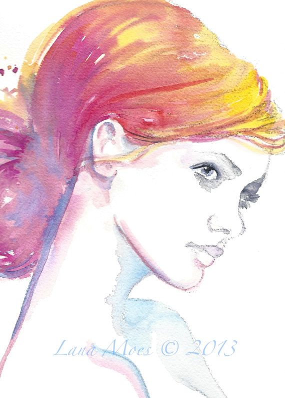 Original painting watercolors fashion and fashion illustrations