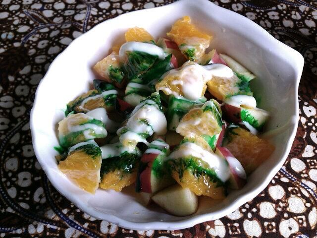 Fruit Salad with Green Cheese Dressing