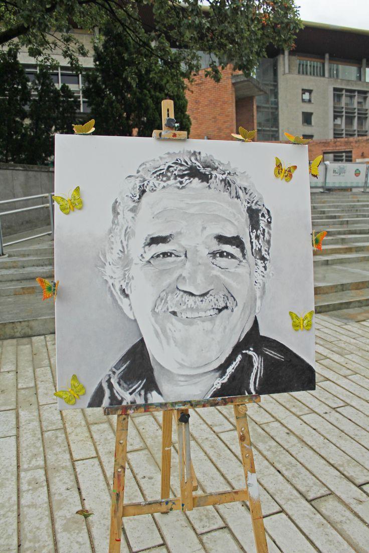 Pintura de Gabriel García Marquez expuesta en la celebración del día Internacional del Idioma.
