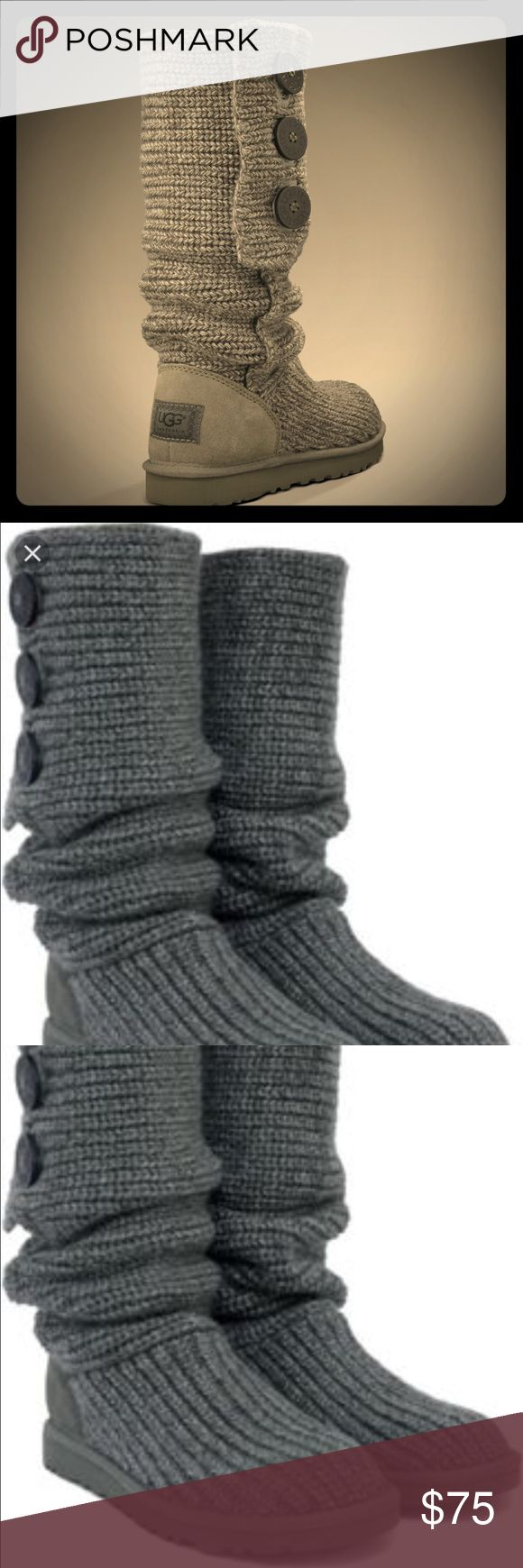 Grey Ugg Knit Boots These grey Ugg Knit boots are so comfortable and are too cute for words. I only wore them twice and they are in awesome condition and come from a smoke free home :) UGG Shoes Winter & Rain Boots