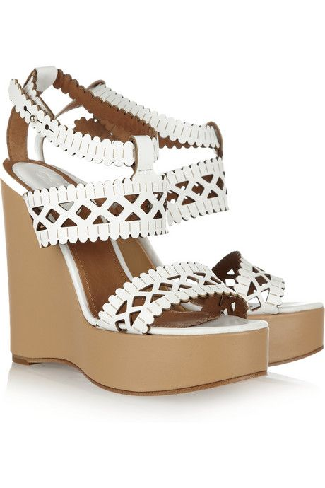 Chloé Cutout leather wedges