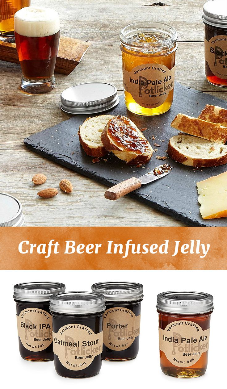 The indulgence of craft beer meets handmade, small batch preserves. This set of 4 jellies makes a great gift for beer lovers or it can add a distinctive touch to cheese platters, salad dressings, baked goods or an old fashion pb&j!