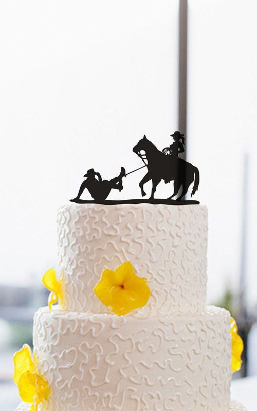 Wedding Cake Topper-Funny Cowboy Cake Topper-Cake by DreamsGarden