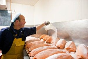 3rd step of the smoking process:  Our salting process is designed to have the right amount of salt to help with the preservation of the smoked salmon and its taste. It is as low as you can go - which is good for us! The Burren Smokehouse