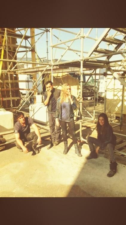 Album cover. Possible names: The Rothen-Borg. Section 17. Charlotte's Leap. Floatmeal || the 100 cast behind the scenes || Bob Morley (Bellamy Blake), Sachin Sahel (Jackson), Eliza Taylor (Clarke Griffin), Paige Turco (Abby Griffin) ||