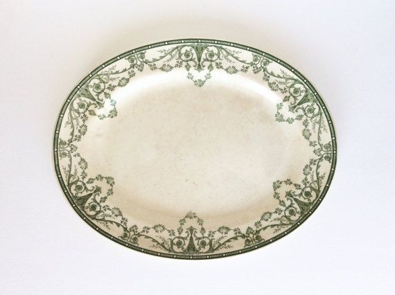 Minton. Minton plate. Green transferware by SouthofFranceFinds