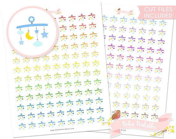 Baby Mobile Printable Planner Stickers Silhouette cut files Cute baby shower crib toys planner sticker sheet. Personal Use DIY Sticker PDF by RobinPrintables
