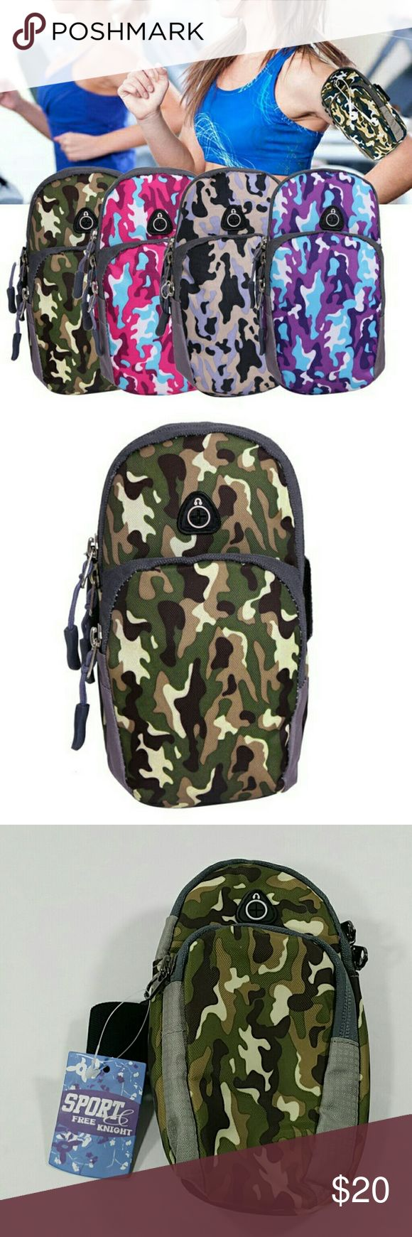 Camouflage Running Armband Phone Pouch Suitable for cellphone, camera, earphone, charger, keys, CC, and other accessories  Fits most cell phones, IPhone 6plus/6s/5/5s/ Galaxy S6/S5/S4/S3 Metal zips on both pockets Well padded for your protection of your phone Only green camouflage is available Free Knight Accessories