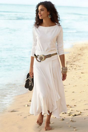 Perfect Boatneck Top with a great St. Kitts Skirt...great belt, too...love it!